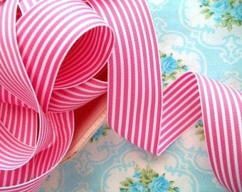 Striped Grosgrain Ribbon -  Pink and White - 1 1/2 inch - 2 Yards