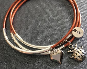 Ladybug,layered bracelets,Tube bead jewelry,bracelet set,Leather bangles,Boho jewelry,Personalized, Monogram,Stacking bangles, BFF bracelets