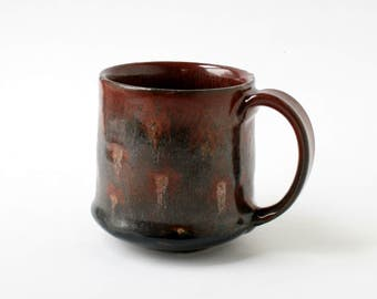 Pottery Mug - Coal and Fire - Hand-Painted Glaze on Wheel-thrown Stoneware Clay