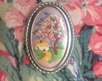 Vintage Embroidered Cottage  Brooch
