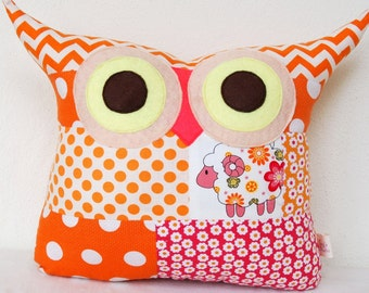 Chistmas sale/PATCHWORK /orange owl pillow /decoration cushion/ owl pillow/for hew /Express shipping/Ready to ship