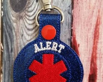 Alert No MRI Keychain -  Backpack Zipper Pull - medical alert - Allergies - cochlear implant - pacemaker - metal implants - medical bag