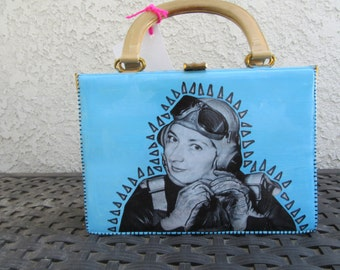 Upcycled Purse, Turquoise Handbag, Aviator Barbara Jayne