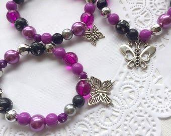 Butterfly bracelet, MIXED set of TEN, purple, party favor, children, child, kids, birthday, beaded bracelets, stretchy jewelry,