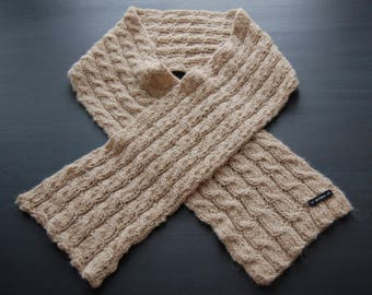 RIAF Alpaca Scarf, Hand Knit, Cable Knit - Tan/Light Brown