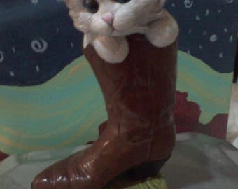Cat in cowboy boot Ceramic hand painted brown and cream on green base