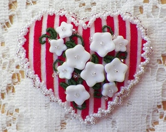 Handmade Red White Striped Heart / Heart Shaped Brooch / Pin / Broach, White Glass Flowers, Silver / Pearl Glass Beads, Beaded, Embroidery