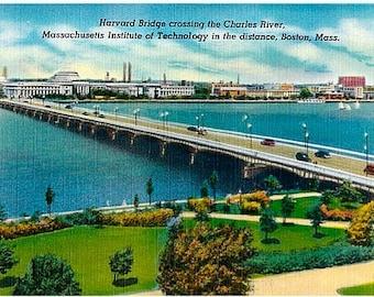 Vintage Boston Postcard - The Harvard Bridge over the Charles River (Unused)