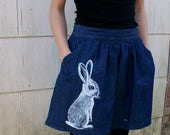 Denim Bunny mini skirt - upcycled, screenprinted, one of a kind, size 27 waist