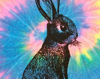 Tie Dye neon rainbow spiral bunny rabbit screenprint tee - one of a kind, size Youth Large (14-16)