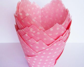 24 Pink with White Dots Tulip Paper Cupcake Liners