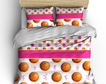 Polka Dots and Pink Swish Basketball bedding- Can Personalize - Toddler, Twin, Queen or King Size
