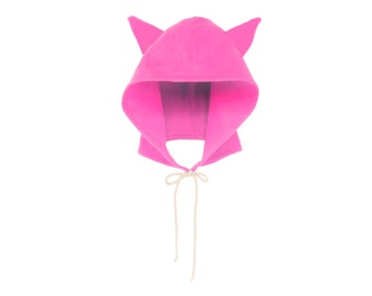 Pink Pussyhat - Pussy Cat Hoodie Hat, Womens March, Protest Hat, Fleece Tie Hooded Hat with Ears in Neon Pink - Unisex Adult & Kids Sizes