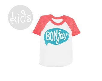 BONjour Raglan Tee - Short Sleeve Crew Neck Baseball Tshirt in Heather Red and Blue - Baby Kids & Youth Sizes