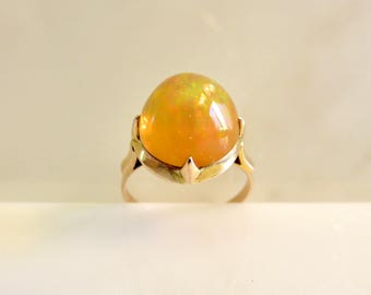 Circa 1910.  3.15 carat Mexica Fire Opal Ring