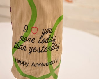 Eco Embroidered Wine Bag Anniversary Valentines Day Personalized Customized Upcycled Fabric