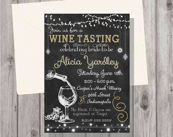 Digital Chalkboard & Gold Wine Tasting Bridal Shower or Birthday Party Invitation Personalized Printable