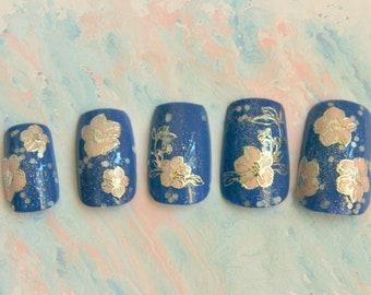 Sparkling Sakura Fake Nails, Press On Nails, Sakura, False Nails Set, Japanese Nail Art, Press On Acrylic Nails, 3D Fake Nail, Spring Nails