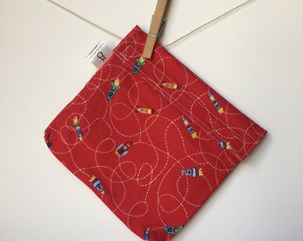 Reusable eco friendly washable Sandwich Bag - rocket ships on red