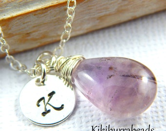 Amethyst Necklace, February Birthstone Necklace, Initial Necklace, Moss Amethyst Necklace, Super 7, Personalized Necklace, Amethyst Jewelry