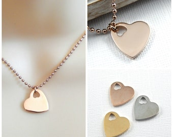 Heart Necklace, Choose Rose Gold, Gold Or Silver, Heart Charm Necklace