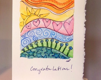 "Congratulations Watercolor Original Strathmore Card 5"""" x 6 7/8"" & Envelope  betrueoriginals"
