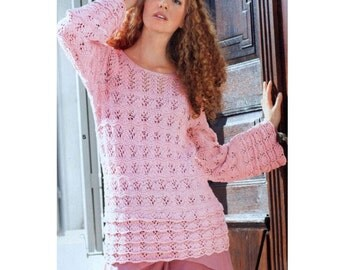 Vintage Knitting Pattern Scallop Ruffle  Tunic Sweater Long Line Summer Jumper Pullover Aran Cotton INSTANT DOWNLOAD PD