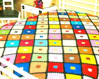 Almost Free Vintage Crochet Pattern  for Boho Granny Square Afghan Throw Blanket  Retro