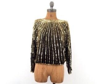 HOLIDAY SALE vintage 80s GOLD + Black sunburst Sequin silk blouse S-M