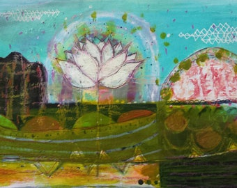 ON SALE ! - original artwork on paper featuring a lotus flower .In shades of green gold, blue, black, violet , pink and yellow.