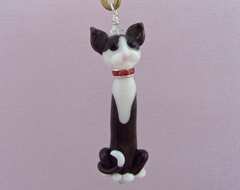 Charcoal Gray Tuxedo Cat Ornament - Lampwork Glass Bead SRA