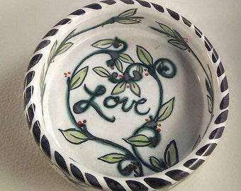 Majolica pottery - hand painted ceramic pet bowl - wheel thrown ceramics - kitten and puppy bowl