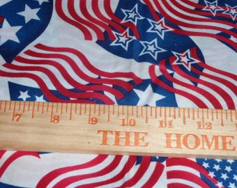 Patriotic Red Blue White with Stars American Flag 100% Cotton Fabric 1/2 Yard