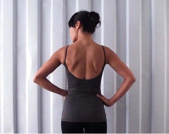 Low back tank - Singlet - Yoga top - yoga clothes - dance wear - athleisure. Dark grey - Plum - Burgundy - Black. Size SM and ML