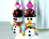 RESERVED. Top Hat Snowman Earrings, Christmas Dangle Earrings, White Black Rainbow Glass Earrings, Lampwork Snowmen Winter Holiday Jewelry