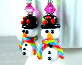Black Top Hat Snowman Earrings, Christmas Dangle Earrings, White Black Rainbow Glass Earrings, Lampwork Snowmen Winter Holiday Jewelry