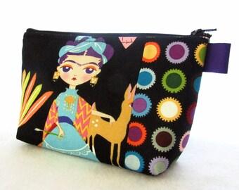 Artist Frida Kahlo Fabric Large Cosmetic Bag Zipper Pouch Padded Makeup Bag Zip Pouch Alexander Henry Esperanza Bright Black Self Portrait