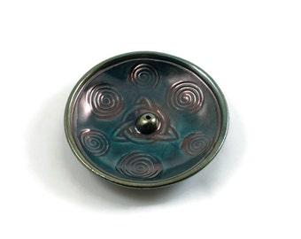 Incense Burner CELTIC TRIQUETRA  knot Handmade Ceramic Pottery