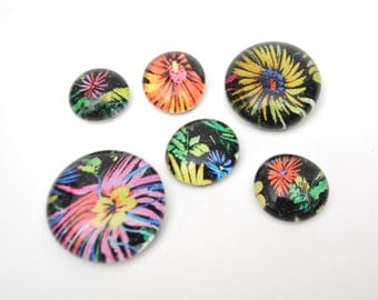 colorful flower pattern magnet or push pin set - made from recycled magazines, stocking stuffer, hostess gift, graduation