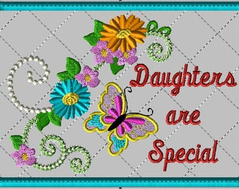 """Machine Embroidery Design-Customer Requested-ITH-Mug Rug-""""Daughters are Special"""" with Butterfly and Zinnias includes 2 sizes"""