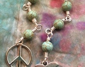 Pray for Peace Mala in Turquoise and Silver. A fundraiser for Vietnam Veterans Against War.