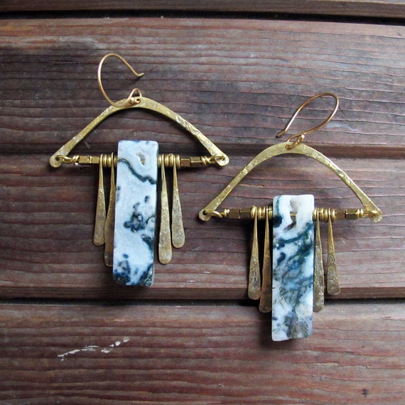 Threads of Green - Moss Agate Earrings - Statement Green Stone Earrings - Brass and Moss Agate Earrings