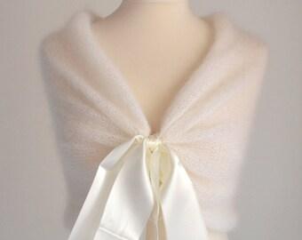 Silk Mohair Knitting Shawl, Ivery Shawl, Bridal Cape, Wedding Cape, Bridal Wrap, Bridal Bolero, Wedding Shawl, Bridal Shawl, Cape ,Seide