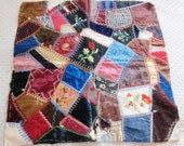 Victorian quilt block,  antique crazy quilt, embroidered quilt block, silk patchwork, vintage textiles, velvet, brocade square,