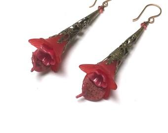 Victorian Filigree Flower Earrings. Long Drop Earrings. Red. Lightweight. Garden. Romantic. Fairy. Be Mine. Handmade Jewelry.