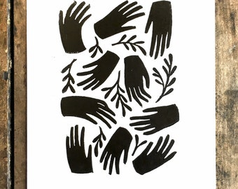 Harvest | Relief print of hands and sage sprigs on paper