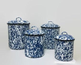Vintage Enamel Canister Set of Four - Enamelware, Splatterware - Blue & White - Splatter