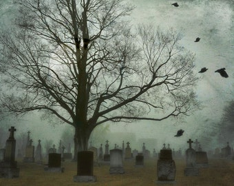 "Surreal graveyard landscape photography dark gothic cemetery print black grey blue - ""Moonlit graveyard"" 8 x 10"