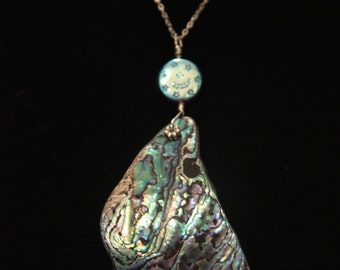 Abalone Necklace on Sterling Silver Chain