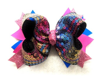 Glitter Hair Bow, Sequin Hairbow, Glitter Bows, Girls Boutique Hair Bows, Black Bow, Pink Bows, Stacked Hairbow, Party bow, Big hair bows